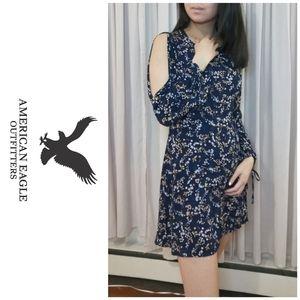 Dark blue floral open long-sleeve mini dress